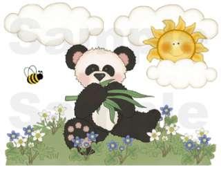 PANDA BEAR BABY NURSERY WALL ART BORDER STICKERS DECALS