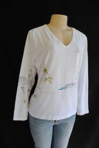 Artsy Beach Vacation Gone Wild Travel Tee Shirt Top 2 L 12 14