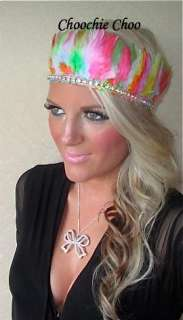 Multi Coloured Feather Diamond Head Hair Band Choochie