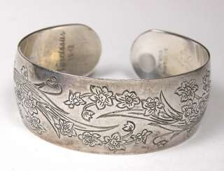 Kirk & Sons   Narcissus Flowers Sterling Silver Cuff Bracelet   15
