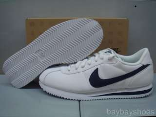 NIKE CORTEZ BASIC LEATHER WHITE/NAVY BLUE MEN ALL SIZES