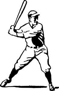 Batters up Baseball Player Logo Decal Sticker
