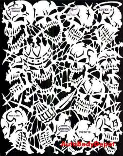 AIRBRUSH TEMPLATE Graphic STENCIL THE LUCKY 13 Skulls