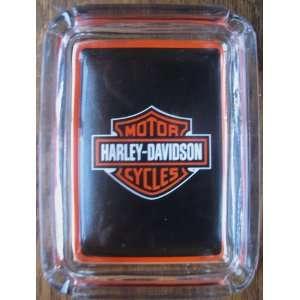 Harley Davidson Card & Glass Ashtray , Ring or Key Tray
