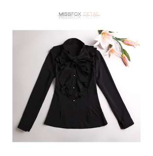 A1359 Japan Korea Fashion Black Women Ruffles Bow Long Sleeve Blouse
