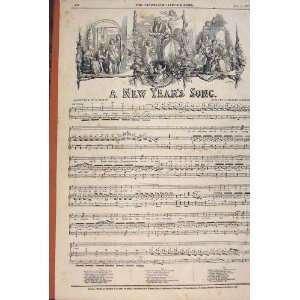 Poetry Song New Year Rodwell Music Score Print 1847: Home
