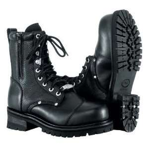 Double Zipper Field Leather Boots 11 Black Cruiser Harley Davidson