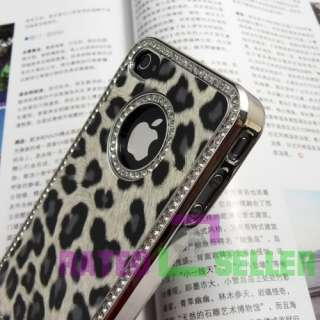 Luxury Bling Diamond Leopard Hard Case Cover For iPhone 4 4G