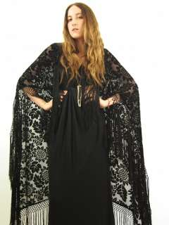 Vtg Black VELVET Floral BURN OUT Gypsy Goth FRINGE Kimono Scarf CAPE