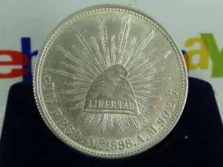 1898 Peso Cn. A.M. Silver Coin, Mexico Peso Fuerte Porfiriano WOW
