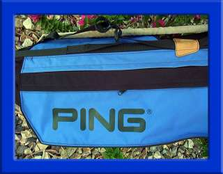PING L8 FIVE POCKET SUNDAY CARRY GOLF BAG BLACK w/ BLUE ACCENTS MINT