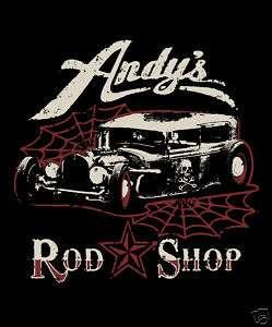Andys Rod Shop Rat Rod, Hot Rod Crew Sweat Shirt Black