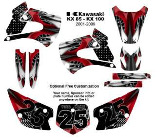 Kawasaki KX 85 /100 MX Bike Graphic Decal Kit 4444Red