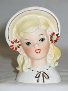 Vintage Christmas Inarco Ceramic Teen Girl Headvase 50s