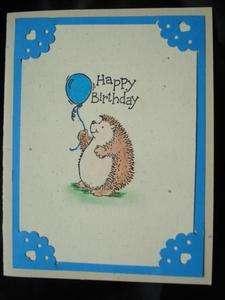 Handmade Birthday Card Stampin Up Hedgehog Balloon