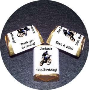BIRTHDAY PARTY FAVORS Candy Wrappers DIRTBIKE Motocross