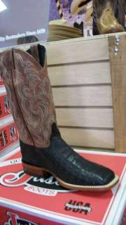 Mens Justin Western Boot Caiman Tail Black Square Toe, #P4175
