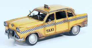 1933 NYC New York City Yellow Checker Taxi Cab Hand Painted Tin