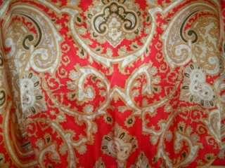 CAbi Red Black & Gold Print SILK Kimono Style Tie Front Top Blouse
