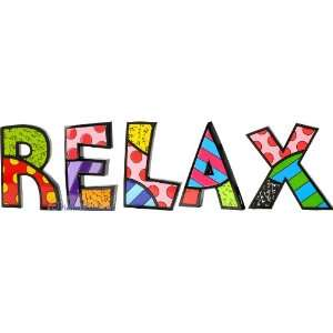 RELAX Word Art for Table Top or Wall by Romero Britto