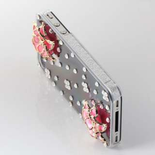Pink Blooming Flower Bling Crystal Hard Case Back Cover To Apple
