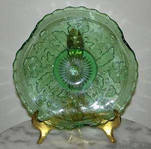 Northwood Blooms and Blossoms Emerald green signed bowl