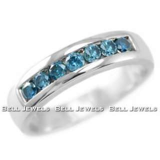 80CT MANS MENS GENTS VS BLUE DIAMOND WEDDING BAND RING 14K WHITE GOLD