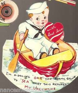 vintage VALENTINE Card SAILOR BOY boat Die Cut used Stands Up DISPLAY
