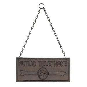 Unique Cast Iron PUBLIC TELEPHONE 5¢ Plaque with Chain