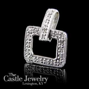 LADIES SQUARE SHAPED OPEN DIAMOND PENDANT PAVE SET .15 CT WHITE GOLD