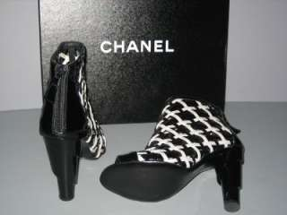 AUTHENTIC CHANEL BLACK WHITE BOOTIES BOOTS HEELS NEW 36