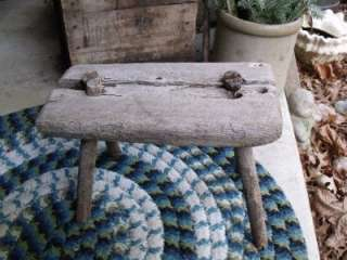 Rustic Early Primitive Antique 1/2 Log Milking Stool Great Foot Stool