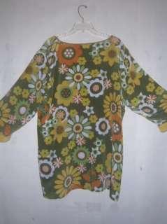 Womens Bob Mackie Wearable Art Sz. 1X Silk Spring Green Flower Tunic