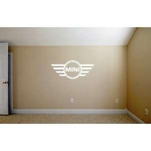 Mini Cooper Emblem WHITE Wall Garage Room Vinyl Decal SET