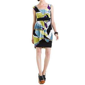 NEW BCBG MAX & CLEO BLACK APPLE PRINT SILKY KNT LINED GEOMETRIC DRESS