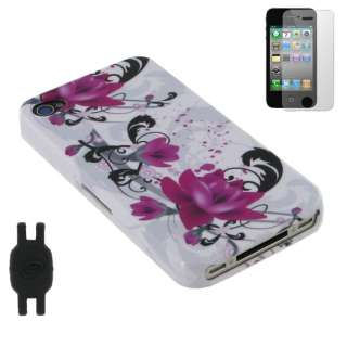 3n1 Bundle White Red Flower Design Case for iPhone 4