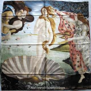 Art 100% Silk Scarf Wrap Oil painting Birth of Venus