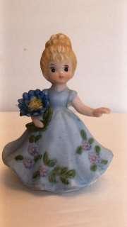 VINTAGE LITTLE GIRL FIGURINE Blue Dress FLOWERS Ceramic