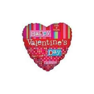 18 Happy Valentines Day Retro Lines   Mylar Balloon Foil