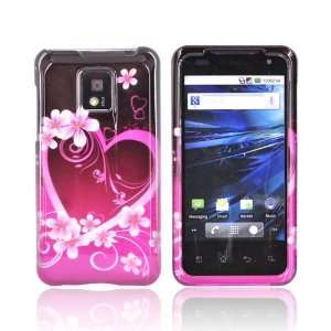 Pink Flowers & Hearts on Black Hard Plastic Case Cover For