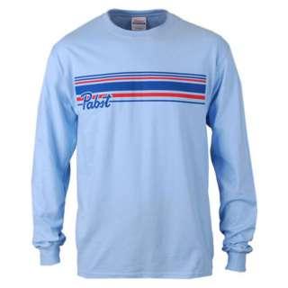 Pabst Blue Ribbon PBR Stripe Logo Blue Long Sleeve Graphic Tee Shirt