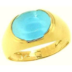 Large Cabochon Oval Gemstone Ring Swiss Blue Topaz/Cabochon , size5.5