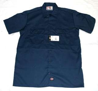 #1574 NAVY NV DICKIES MENS SHORT SLEEVE S/S WORK UNIFORM SHIRT