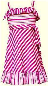 New Girls Rare Editions PINK Candy STRIPE Dress 10 NWT