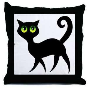 Black Cat Halloween Decorative Throw Pillow, 18