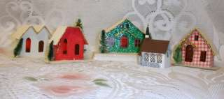 CHRISTMAS VILLAGE CHURCH & HOUSES, Cardboard Mica Glitter Putz 5pc