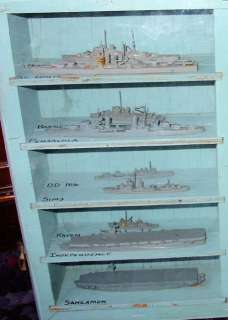 WWII Navy Spotter Recognition Miniature U.S. Ships Models + Case By