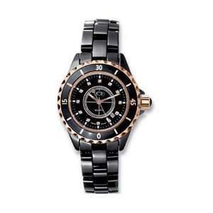 com Ladies Rose Gold Immersion Plated & Black Ceramic CoutureTM Watch