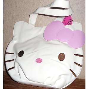 Hello Kitty WHITE PINK Bow Face Leather style Handbag Toys & Games