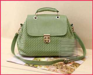 New Celebrity Faux Leather Woven Flower Lock Tote Bag Shoulder